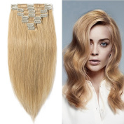 60cm 110g Clip in Remy Human Hair Extensions Full Head 8 Pieces Set Long length Straight Very Soft Style Real Silky for Beauty #27 Dark Blonde