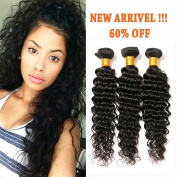 Deep Wave Brazilian Hair 3 Bundles 100% Unprocessed Virgin Human Hair Extensions for African American Women Natural Colour 10 10 25cm