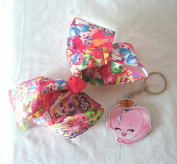 New Shopkins Hair Bow for Girls and Character Keychain Set - (2 Items)