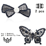 Retro Vintage Hand Made Metal Hollow Out Bowknot Hair Clip Clamps Barrettes Bobby Pin Headwear