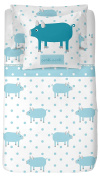 Blonde Home Bedding Set Oink, Cotton, Blue, Single, 33 x 24 x 3 cm, Pack of 2