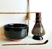 HARU MATCHA - Complete Matcha Tea Ceremony Gift Set (Black) - Matcha Chawan Bowl, Bamboo Scoop (Chashaku), Bamboo Whisk (100 tate) and Whisk Holder