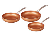 CONCORD 3 Piece Ceramic Coated -Copper- Frying Pan Cookware Set 2017 BESTSELLER