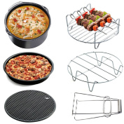Air Fryer Accessories Deep Fryer Universal, Cake Barrel, Pizza Pan, Silicone Mat, Skewer Rack, Metal holder Fit all 3.5l - 3.5l - 3.5l By RJUN