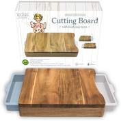Cutting Board - Organic Acacia Wood Chopping Board with 2 White Blue Meal Prep Containers - Naturally Antimicrobial - For Meat Vegetables Bread or Cheese Board