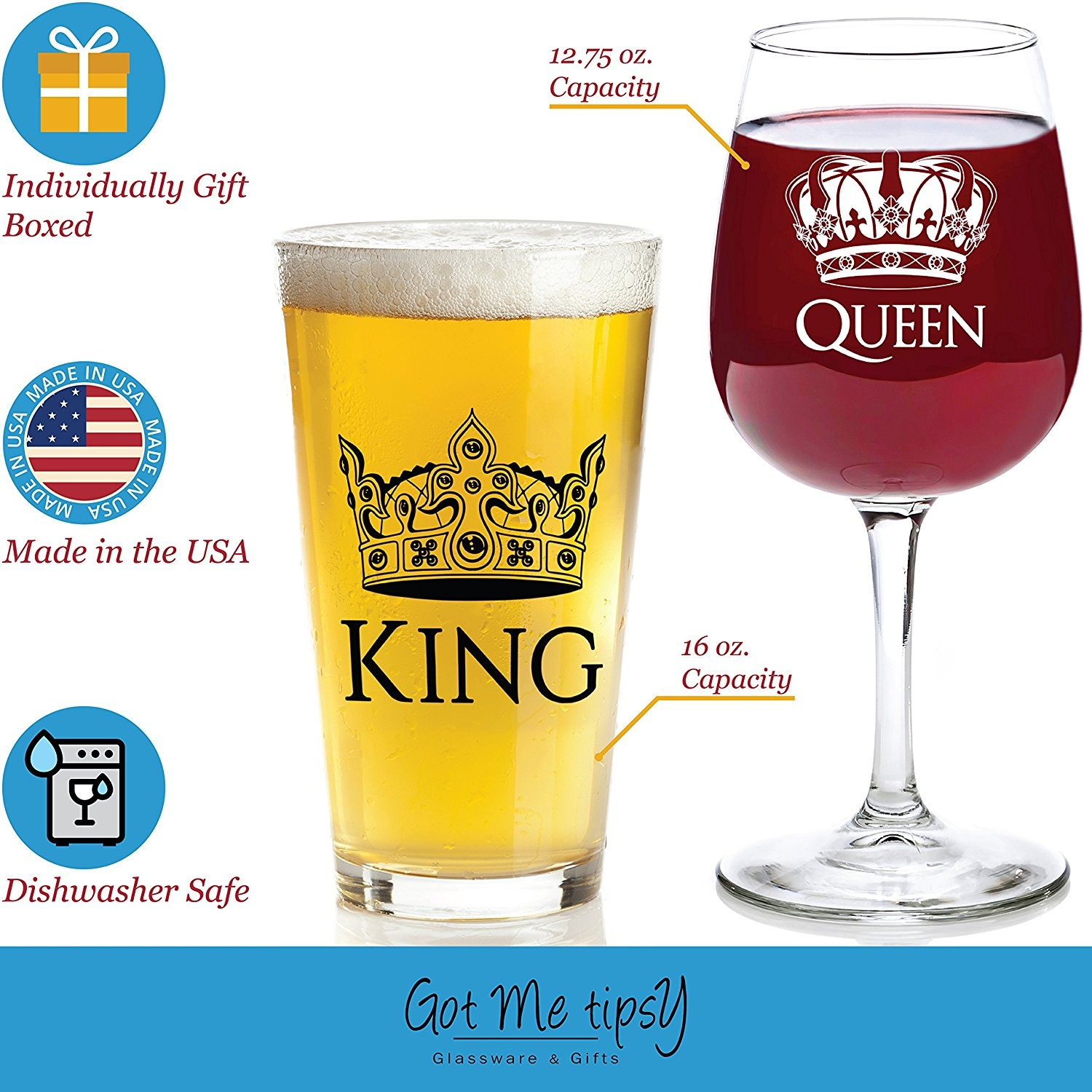 617e63ab7e1 King and Queen Gift Set - 470ml Beer Pint Glass, 380ml Wine Glass - Cool  Present Idea For Wedding, Engagement, Housewarming, Anniversary, Newlyweds,  ...
