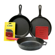 Lodge 6 Piece Seasoned Cast Iron Cookware and Accessories Set (Grill Pan Set) - Complete with Grill Pan, Skillet, Griddle, Pot Holder, Hot Handle Holder, and Pan Scrapers