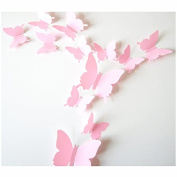 JMHWALL 12xCute DIY Butterflies Wall Stickers For Kids Rooms Girl Nursery Decal Home Decoration Clock 3D Wall Sticker For Party Decor,Pink