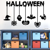 Window Decor, Keepfit Happy Halloween Wall Sticker Pumpkin, Witch, Bats, Devil and Spider for Living Room Bedroom