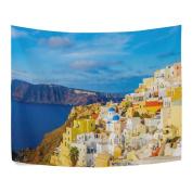 Santorini Greece Beautiful Mediterranean Sea Polyester House Tapestries Room Décor 230cm x 150cm Style Decorative Wall Blanket