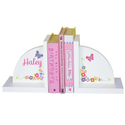 Girl's Personalised Butterfly & Flower Bookends Pastel