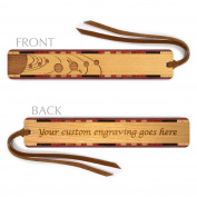 Personalised Outer Space Planets Orbiting Engraved Cherry Wood Bookmark with Tassel - Search B01A00XUDI to see non personalised version