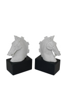 Three Hands Set of 2 Resin Horse Head Bookends, White