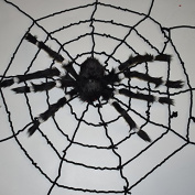 MEIQING 1.5m Black Spiderweb and Giant Spider Halloween Decoration