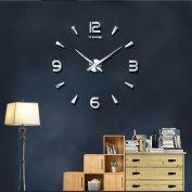 Frameless Large 3D DIY Wall Clock Mute Mirror Stickers Home Office School Decoration