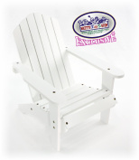 Matty's Toy Stop White Wooden Doll Furniture Adirondack Deck Chair for 46cm Dolls