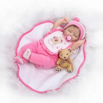NPK 43cm Sleeping Soft Reborn Baby Doll Lifelike Silicone Newborn Girl Birthday Gift