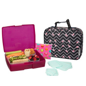 Bentology Lunch Bag and Box Set for Girls - Includes Insulated Sleeve with Handle, Bento Box, 5 Containers and Ice Pack - Flamingo