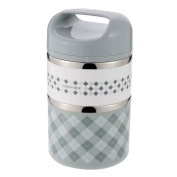 Decdeal Stainless Steel Lunch Box Practical Insulation 2-Layer Lunch Carrier with Handle 930ml