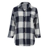 Inverlee Women's Cotton Plaid Casual Loose Long Sleeve T Shirt Botton Down Blouse