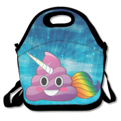 Hoeless Unicorn Poop Emoji With Rainbow Tail Insulated Lunch Box With Zipper,Carry Handle And Shoulder Strap For Adults Or Kids Black