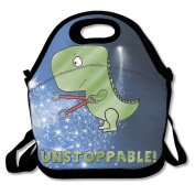 Hoeless Unstoppable Cute Dinosaur Insulated Lunch Bag With Zipper,Carry Handle And Shoulder Strap For Adults Or Kids Black