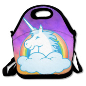 Hoeless The Unicorn Rainbow Insulated Lunch Bag With Zipper,Carry Handle And Shoulder Strap For Adults Or Kids Black