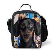 HUGSIDEA Cute Dachshund Print Kids Thermal Lunchbags Black Dog Lunch Box for Boys