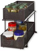 SimpleHouseware 2 Tier Sliding Cabinet Basket Organiser Drawer, Bronze