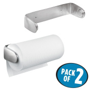 mDesign Wall Mount Paper Towel Holder for Inside Kitchen Cabinets and Home – Pack of 2, Brushed Stainless Steel