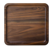 Rustic Walnut Wooden Tray Solid Wood Serving Tray Square Rectangle Platter Tea Tray Coffee Table Tray (Square Small