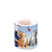 "Ambiente Christmas Candle Kittens 2 small Presents 3"" Pillar Candle 8cm Tall"