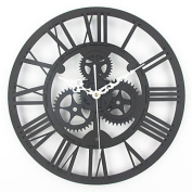 MGS-Wall Clock@Wall decoration 30cm antique gear wall clock in Europe the living room clock , black
