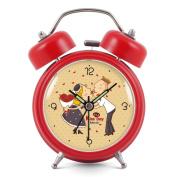 Silent double bell alarm clock/fashion luminous clocks/simple and creative alarm clock-Red