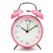 Creative bell alarm clock/student mute clock/ luminous clock bedside-Pink