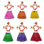 HLJgift 43cm Long Kid's Flowered Luau Hula Skirts With Costume Set Pack of 6, Assorted Colours