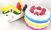 Jumbo Colourful Rainbow Strawberry Cake and Jumbo Unicorn and Squishy Fluffy Slow Rising Stress Relief Squishy Toy
