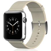 Beikel Apple Watch 3 42mm Leather Strap Wrist Band Replacement with Metal Clasp for Apple Watch Series 1 2 & 3