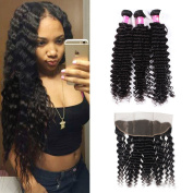 Forawme Brazillian Virgin Hair Weaves With Frontal Closures 5pcs Lot 22 24 26 28 With 50cm Free Part Lace Frontal Closure With Bundles Unprocessed Human Hair Weave