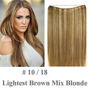 Halo Miracle Invisible Wire Flip In Secret Hair Extensions 100g 60cm 100% Remy Premium Grade Human Hair # 10 / 18 Lightest Brown Mix Blonde