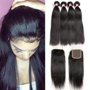 Beauty Princess Brazilian Straight Hair 4 Bundles with Closure 8A Mink Brazilian Hair with Closure 100% Unprocessed Human Hair Bundles with Closure Free Part