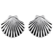 Brinley Co. Sterling Silver Clam Shell Stud Earrings