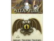 Solid Oak Steampunk Pendant Winged Dragon Eye
