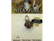 Solid Oak Steampunk Pendant Tea Ball Ant Gold