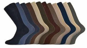 Mens Socks Loose Wide Top Cotton Mix Size 6-11 Fashion 12 Pack