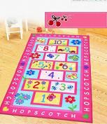 Abreeze Fashion Hopscotch Kids Carpet for Bedroom, Sweet Pink Floral Butterfly Rug, Designer Figure Kids Play Mat