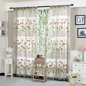 Makalon Morning Glory Sheer Curtain Tulle Window Treatment Voile Drape Valance 1 Fabric