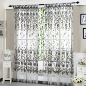 CYCTECH Peony Sheer Window Curtain Tulle Treatment Voile Drape Valance 1 Panel Fabric