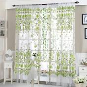 CMrtew 1PC Stylish Peony Sheer Window Curtains Window Treatment Panels Door Drape