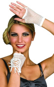 New Adults White Lace-Up Fingerless Fishnet Wrist Gloves